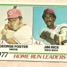 1978 Topps baseball card #202 (C) Home Run Leaders George Foster Jim Rice EX