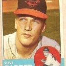 1963 Topps baseball card #12 Steve Barber Baltimore Orioles EX