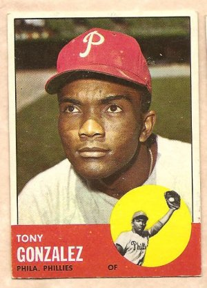 1963 Topps baseball card #32 Tony Gonzalez Philadelphia Phillies EX-