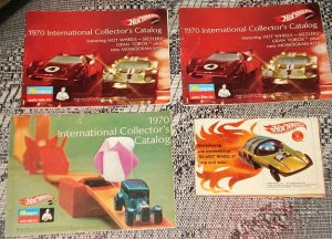 6 ORIGINAL 1967 - 1970 Mattel Hot Wheels (HotWheels) Catalogs &amp; RodRunner instruction sheet