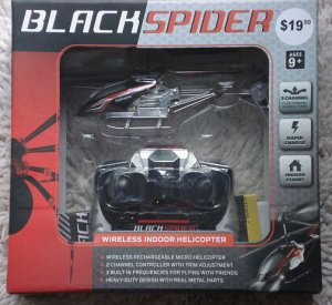 Black Spider Wireless RC remote control Helicopter MIB w/ metal parts, 2 channel, 3 frequencies
