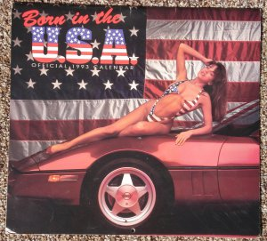 "1993 Born in the USA calendar - Corvettes and bikini wearing girls! WOW!! 12"" x 12"" full color"