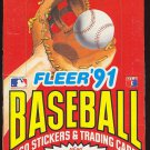 1991 Fleer Baseball card wax box, 36 packs, never opened, MINT