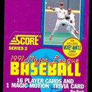 1991 Score Baseball card wax box Series II (2), 36 packs, never opened, MINT