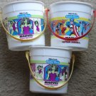 3 1989 White Castle Marvel Super-Heroes pails buckets - She-Hulk Captain America