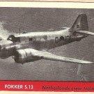 1956 Topps Jets card #20 Fokker 2.13, Netherlands Crew Trainer