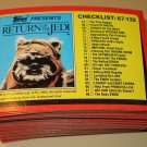 116 different 1983 Topps Return of the Jedi Series 1 cards, EX/NM Luke Skywalker lot3