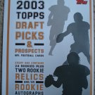 2003 Topps Draft Picks & Prospects football card promo promotional ad sneak preview sheet, NM/M