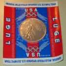 General Mills 1998 Olympics Luge aluminum coin token - US Olympic team MOC