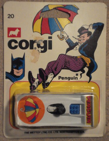 Corgi Penguin mobile car MINT on card, never opened, 1966 or 1979, Batman