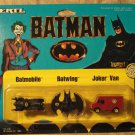 1989 Ertl Batman micro Batmobile, Batwing, Joker Van, MINT in card never opened!