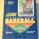 1992 Score Baseball card wax box Series 1, 36 packs, never opened, MINT