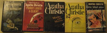 5 Agatha Christie novel paperback books 1930's - 1960's murder mysteries, thrillers, and more