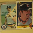 4 Kirk Gibson baseball cards, Fleer, Donruss, Detroit Tigers