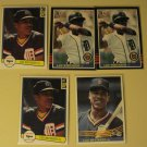 5 Lou Whitaker baseball cards, Donruss, NM/M