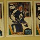 Three (3) 1987/88 Topps Wendel Clark Hockey card #12, NM, Toronto Maple leafs