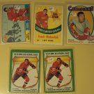 5 Frank Mahovlich Hockey cards, Topps, various years