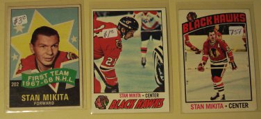 3 Stan Mikita Hockey cards, Topps, various years