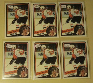 Six (6) 1984/85 Topps & OPC Dave Poulin Hockey card #'s 120, 165