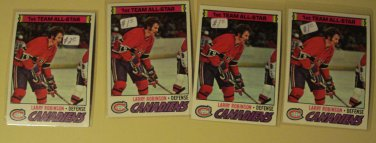 Four (4) 1977/78 Topps Larry Robinson Hockey card #30, Montreal Canadians