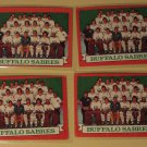 Four (4) 1973/74 Topps Buffalo Sabres Team Hockey card #94