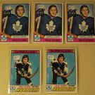 5 Borle Salming Hockey cards, Topps 1977/78 #140, 1974/75 #180