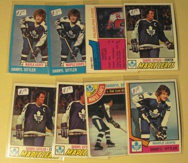 8 Darryl Sittler Hockey cards, Topps, various years