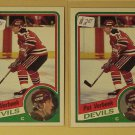 Four (4) 1984/85 Topps Pat Verbeek Hockey card #90, Devils