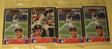 4 1985 Donruss Action All Stars baseball card packs, Dwight Gooden & Don Mattingly on top