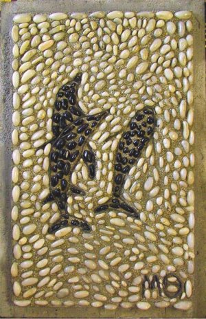 DOLPHINS PEBBLE MOSAIC