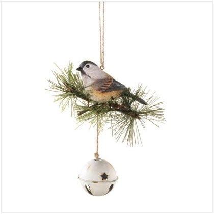 CHICKADEE ON A BELL ORNAMENT