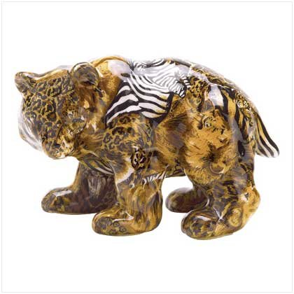 PATCHWORK ANIML-PRINT BEAR FIGURINE
