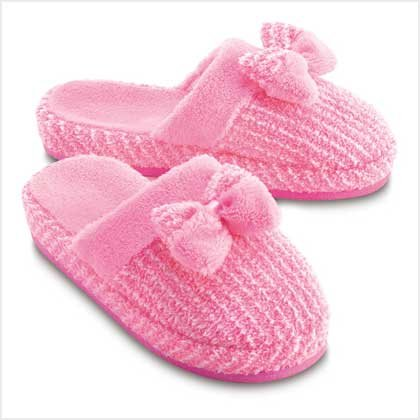 PINK PLUSH SLIPPERS-LARGE