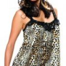 Plus Size Babydoll Set with Wildcat Print and Lace Trim