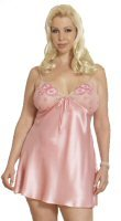Plus Size Silk Open Back Chemise Set with Embroidered Flower Appliques