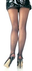 Sheer Panty Hose with Rhinestone Back Seam Accent