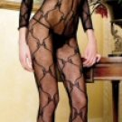QUEEN SIZE Bow Lace Long Sleeve Open Crotch Bodystocking