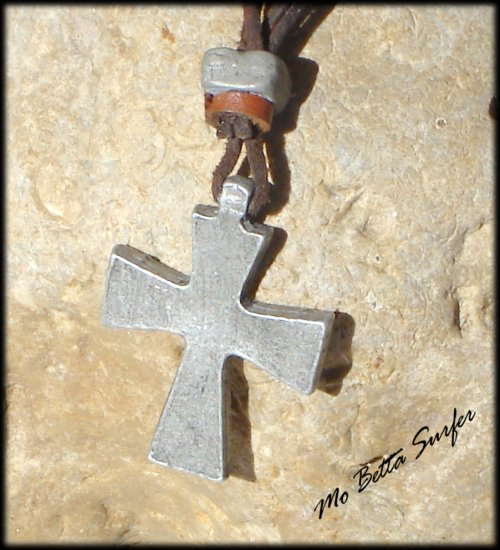 Men's Distressed Leather Cord Choker with Pewter Christian Cross