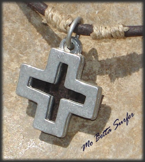 Men's Distressed Leather Surfer Necklace with Pewter Cross