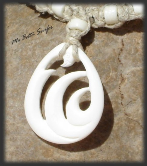 Hand Carved Bone Teardrop w/Waves Leather and Hemp Surfer Necklace