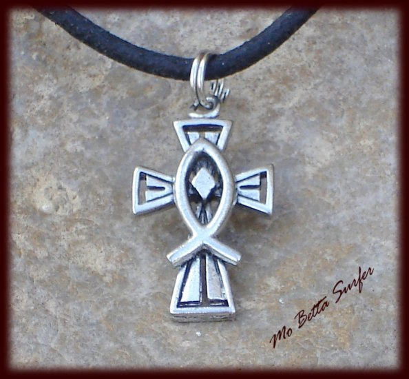 Pewter Cross and Fish Pendant on Adjustable Leather Choker Necklace