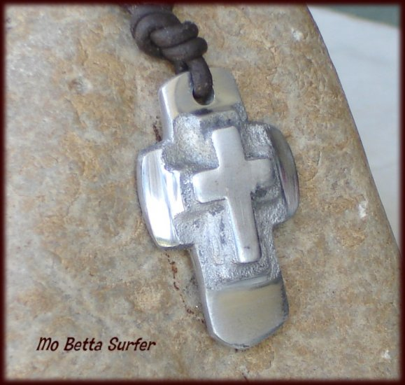 Men's Distressed Leather Surfer Necklace with Layered  Cross