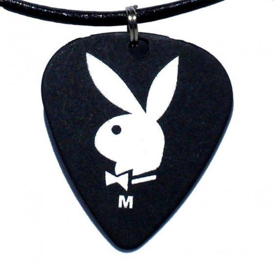 Playboy Guitar Pick Leather Surfer Adjustable Necklace