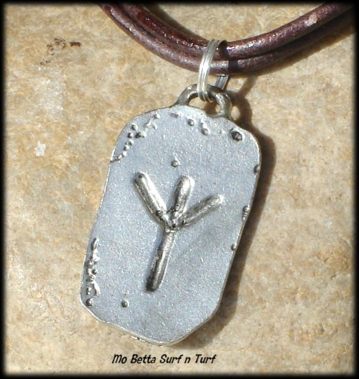 Men's Distressed Double Leather Cord Choker with Pewter Runes Protection