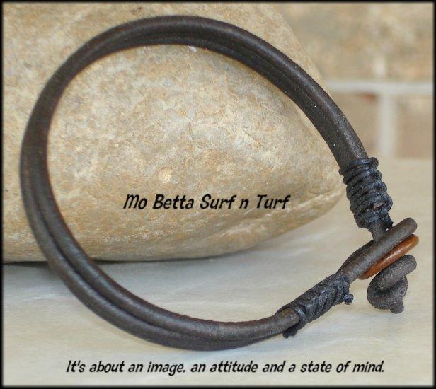 Triple Layer Distressed Dark Brown 3mm Leather Bracelet or Anklet
