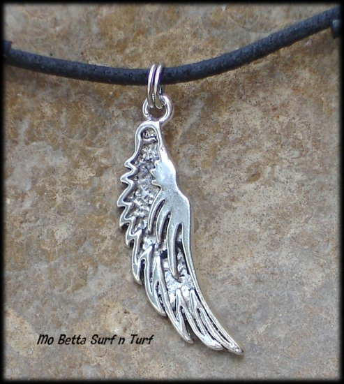 Christian Angel Wing Pewter Pendant on Adjustable Leather Choker Necklace