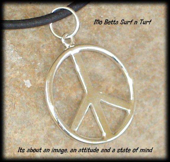 Sterling Silver Peace Symbol on Black Leather Adjustable Choker Necklace
