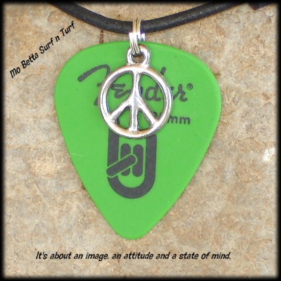 Fender Green Rock On Guitar Pick and Peace Sign on Leather Adjustable Necklace