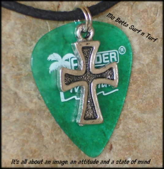 Fender Green California Clear Guitar Pick and Pewter Cross on Leather Adjustable Necklace
