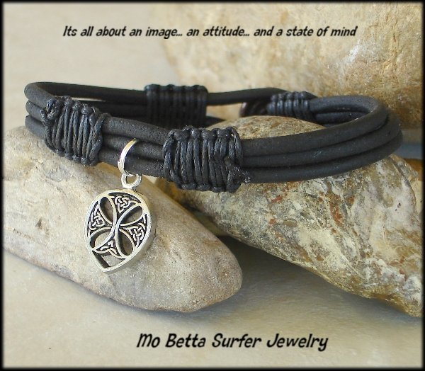 Triple Layer Distressed Black Leather with Celtic Cross  Bracelet or Anklet